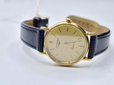 Ladies 18ct gold longines classic watch with leather strap. fwo.