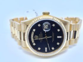 Rolex 18ct gold Day-Date Gents Watch, 36mm diameter with Factory Black Diamonds Dot Dial, 1985