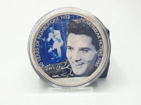 Elvis Presley SILVER DOLLAR 2006. Having silver US Eagle to one side and Elvis in colour to the