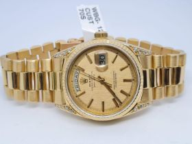 18ct GOLD Rolex Date Day Watch with Costumed Diamond Shoulders with Original Dial, 70s Model and