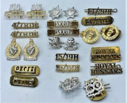 12 pairs of Military staybrite SHOULDER TITLES and collar badges. Selection to include Blues and