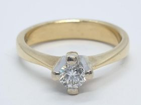 18CT Y/G DIAMOND SOLITAIRE RING, WEIGHT 4.8G AND 0.35CT DIAMOND APPROX SIZE N1/2