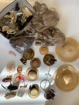 Qty of Vintage Dolls Shoes, Bonnets, Stockings and Some Stands.