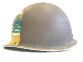 WW2 Normandy Relic US Fixed Bale M1 helmet with post War memorial painting