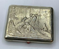 19TH CENTURY WHITE METAL RUSSIAN CIGARETTE CASE WITH BEARS IN THE FOREST MOTIF, 161.2G WEIGHT 10.