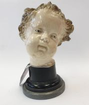 A Ceramic Head Mounted on Plinth Tin Glazed Likely to be Austrian, H: 125mm.
