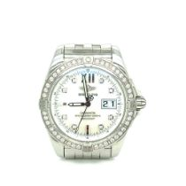 Breitling Galactic Automatic Chronometer Original Factory Diamond Set Bezel and Dial. Mother Of