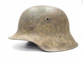 WW2 German M42 Normandy Helmet. This helmet is a typical post 1943 variant in slate grey workshop