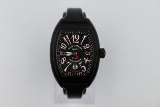 Franck Muller black conquistador king watch, discontinued vanilla scented black rubber strap, no