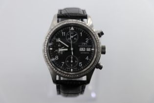 IWC Chronograph watch custom diamond bezel and black leather strap, no box/papers, in good working