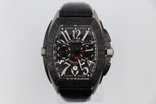 Franck Muller titanium conquistador Grand Prix watch, black leather strap with red stitching, no