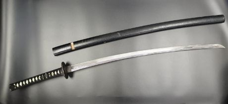 Japanese SAMURAI SWORD with ornate hilt and handle in wooden scabbard. A/F