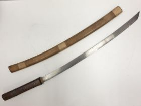 Japanese Army issue SAMURAI SWORD c 1940 with original wooden taped scabbard. A/F