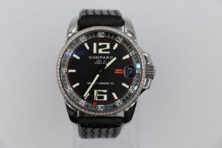 Chopard Gran Turismo XI watch with diamond bezel Skeleton back with box and papers, in good