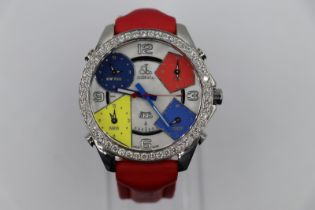 Jacob & Co watch 4 time zone screw, diamond bezel and two spare straps, come with box and cards,
