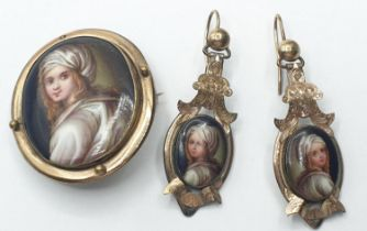 Victorian 9ct gold and enamel BROOCH with matching earrings.