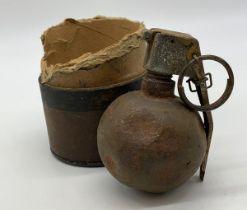 INERT Vietnam War Era US M-67 ?Baseball? Grenade in transit tube. The idea was that every all-