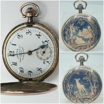 Onoto Silver and 9ct gold engraved POCKET WATCH.