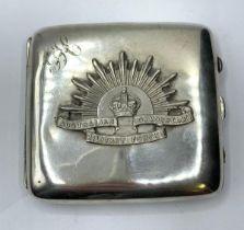 WW1 1915 Hallmarked Silver Cigarette Case with Silver Australian Rising Sun Badge.