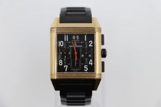 Jaeger le Coultre rose gold Watch, square face reverse skeleton back and black rubber strap, good