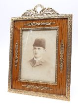 A large Antique Russian 14k gold photo frame with silver back stand, 16.5 x 24.5cm approx