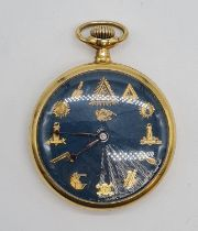 Omega Masonic Pocket Watch with rare Blue face, full working order