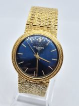 PATEK PHILIPPE GENEVE gent watch with blue face and 18k gold strap,36mm case 1970s model