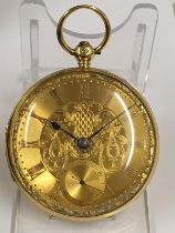 Antique 18ct solid gold gents Pocket chronometer Fusee Pocket watch with large diamond end stone set