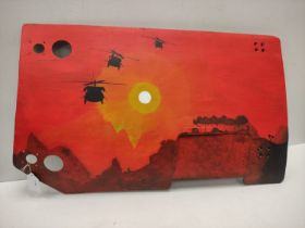 Genuine Vietnam Era Bell Huey UH-1 Helicopter Fragment with post war memorial painting