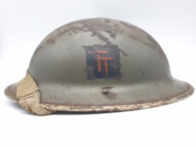 WW2 British ?Tommy? Helmet & Liner with painted insignia of the 50th Northumbrian Infantry Division.
