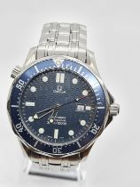 OMEGA Seamaster gent watch with navy face and blue bezel 42mm case
