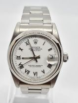 Rolex Oyster Perpetual Datejust chronometer ladies watch with white face and steel strap, 30mm