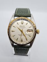Rolex Oyster Perpetual Datejust chronometer gent watch 1960s, unusual bezel and leather strap 35mm