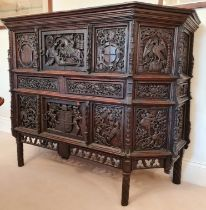 This magnificent Tudor sideboard (credenza)has definite Royal connections, being hand carved and