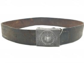 WW2 German Army Leather Belt & Buckle.