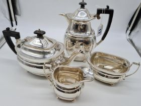 1931 Mappin & Webb Silver tea and coffee set with creamer and sugar bowl with tongs, very good