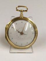Antique rare yellow metal Verge Fusee calendar Pocket watch, c1700s Egyptian pillars. In very good