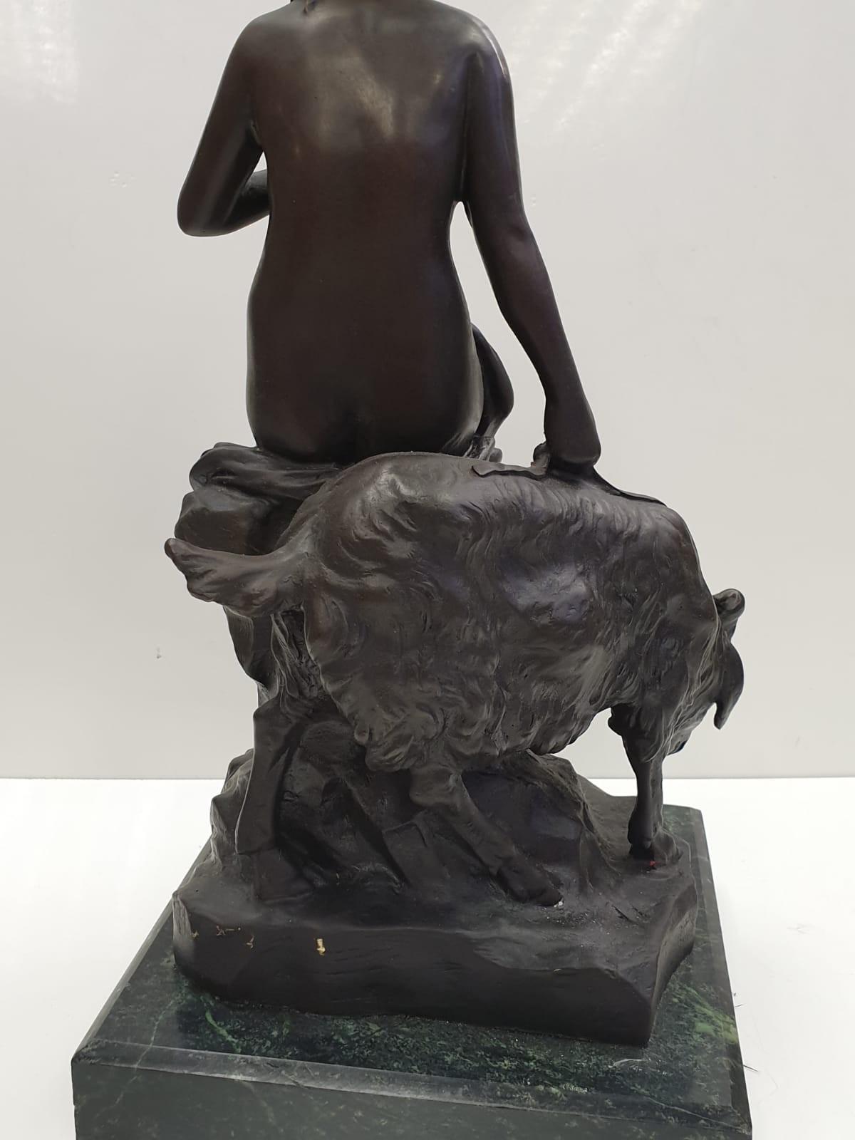 Bronze Pierre Julien figurine on plinth. 'Amalthea and Jupiter's Goat'. Height 45cm. Weight 9.7kg - Image 14 of 27