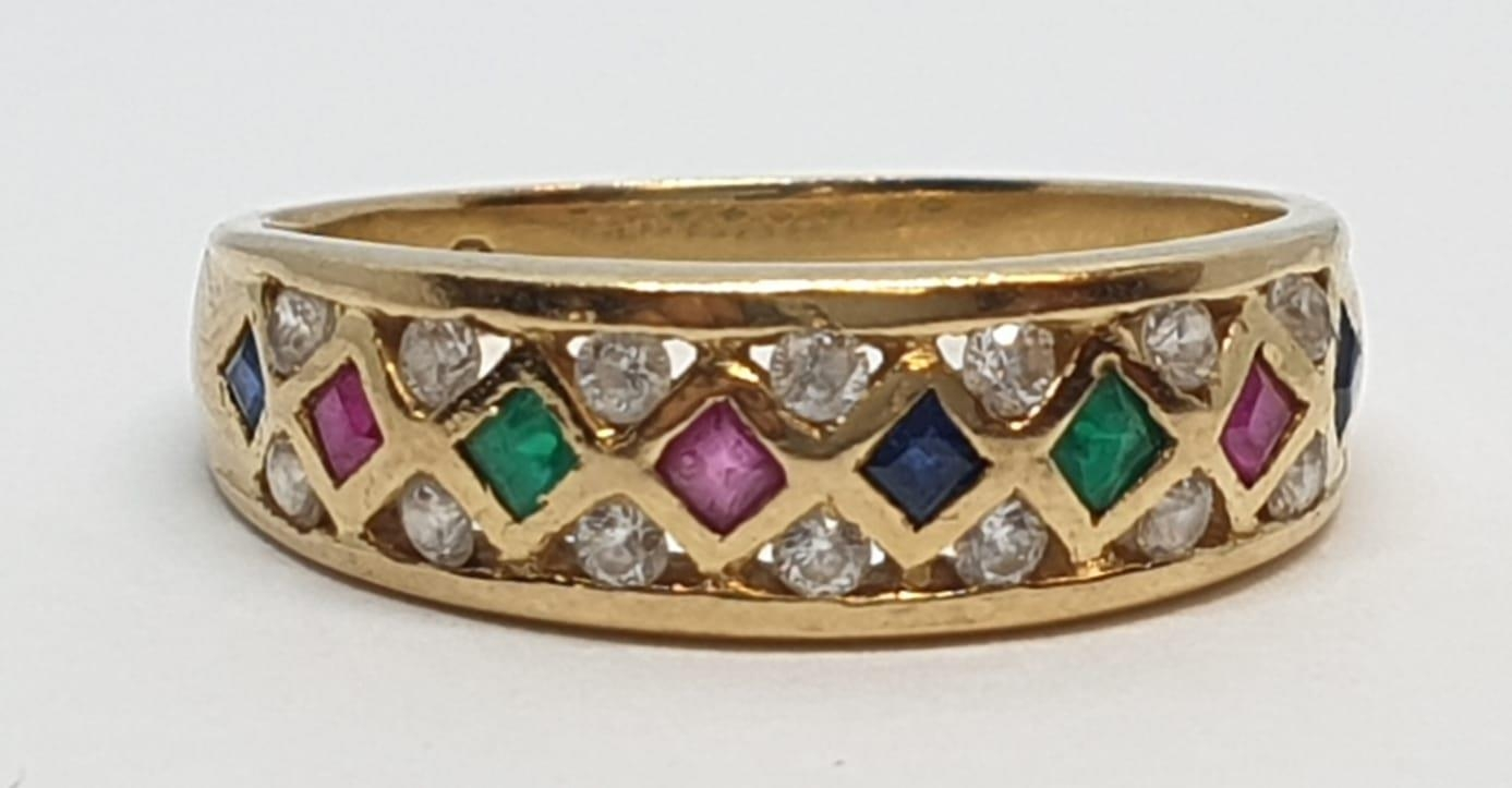 18ct Yellow gold diamond ruby, sapphire and emerald set fancy ring. Weight 4.3g, Size S. - Image 4 of 10