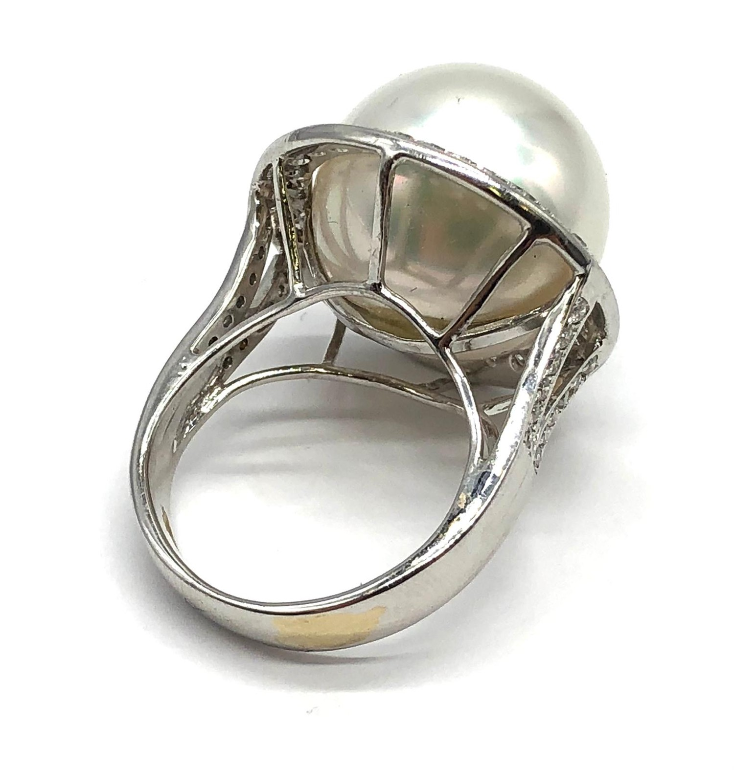 A large Kimoto pearl (17mm diameter) ring set in diamond and 18ct white gold ring, weight 14.43g and - Image 6 of 7
