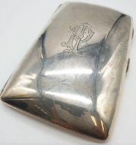 Edwardian John Millward Banks, Sterling Silver Cigarette Case Box with engraving on front,
