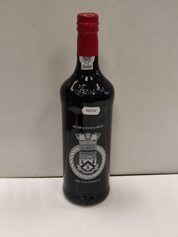 A bottle of Ruby Port from HMS Collingwood with a HMS Collingwood Cummerbund.