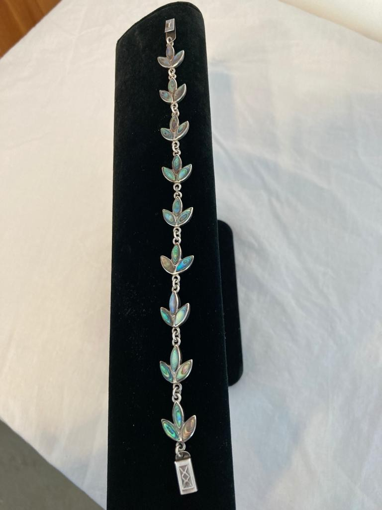 Silver and abalone bracelet in leaf formation. Sterling silver. Length 7.5 inches /19cm approx.
