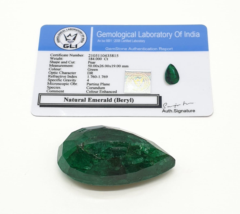 184ct Large Size Emerald Gemstone Pear Shape GLI CERTIFIED