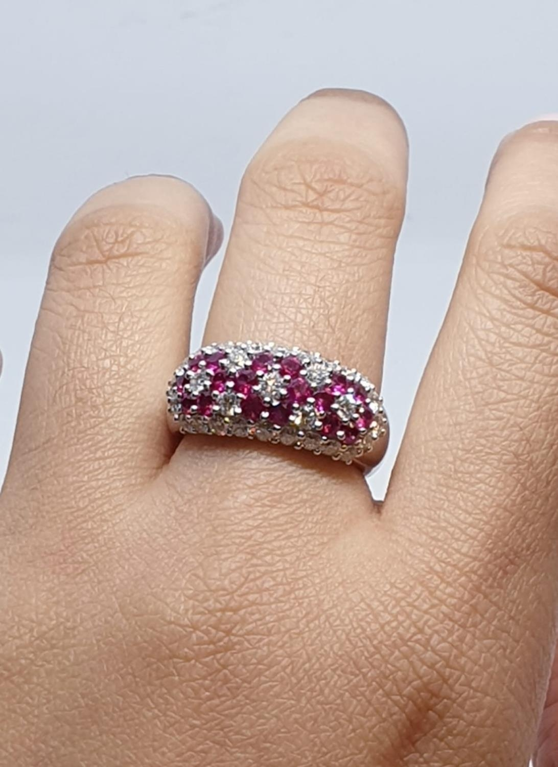 18ct white gold ring with over 1ct ruby and 1.8ct diamonds in flower design, weight 9.39g and size M - Image 9 of 11