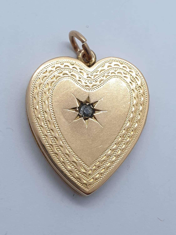 Vintage 18ct gold heart LOCKET /PENDANT . 9.7g 3cm