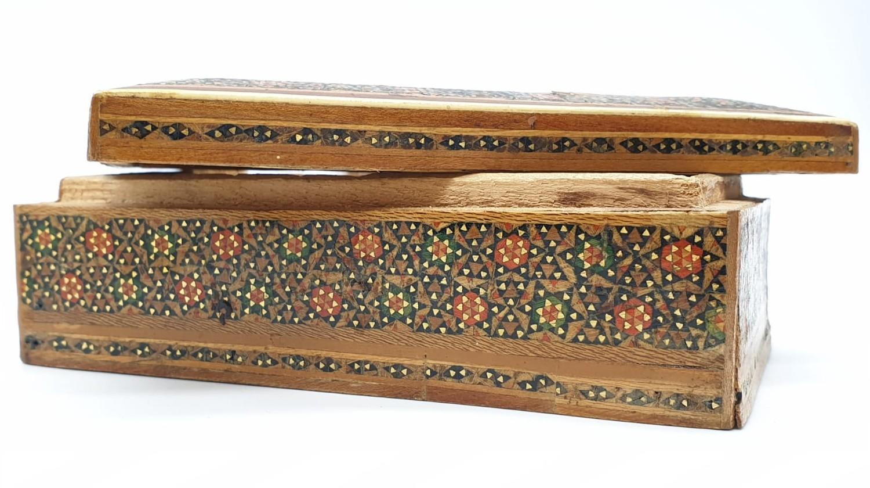 Persian Ghajari micro Mosiac box, 14x8.5cm - Image 4 of 5