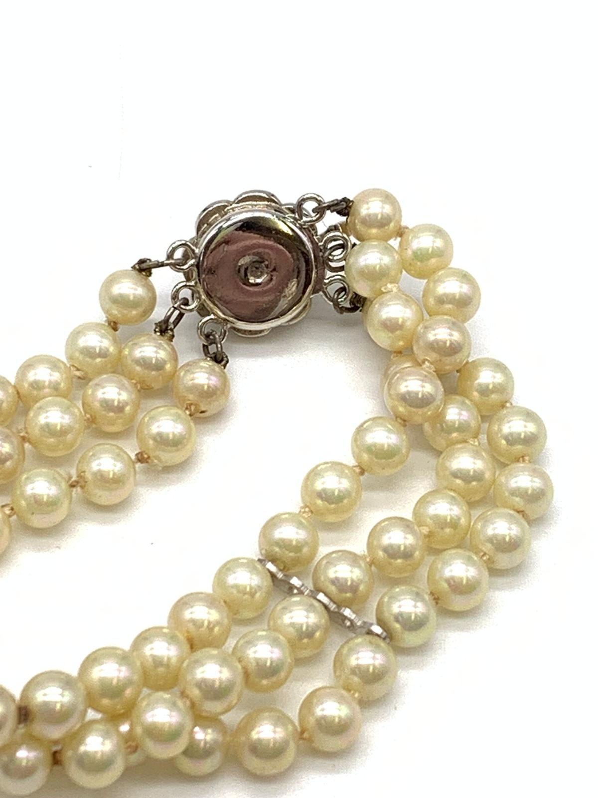 3 Strings Pearl Bracelet with Ornate Catch 16cm - Image 3 of 3