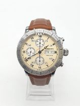 Longines Lindbergh hour angle chronograph gents watch with cream face (case 44mm) and skeleton back,
