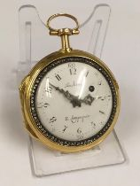 Antique circa 1700s 18ct solid gold & diamonds verge fusee pocket watch, antique 18k hallmark on